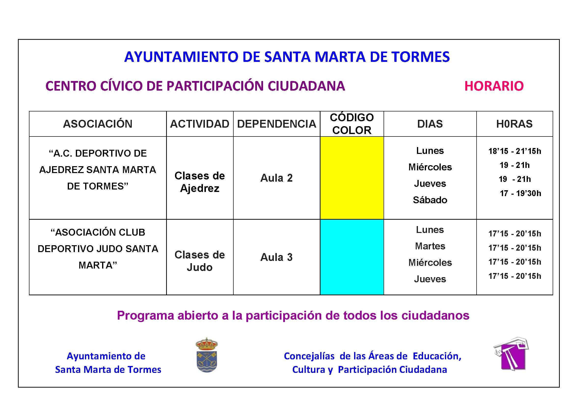 Horario de actividades del centro c vico for Horario ministerio del interior